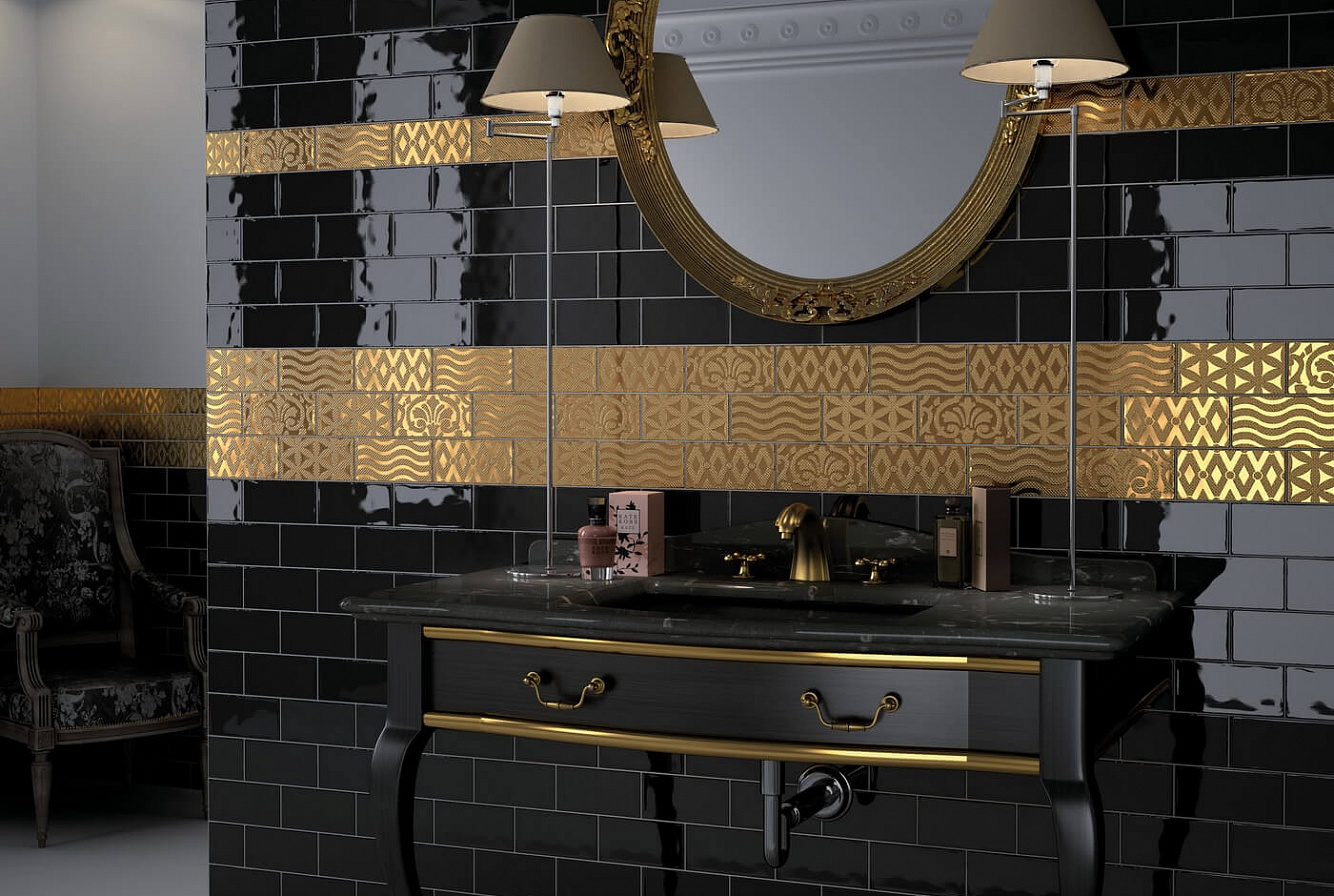 Black ceramic wall tile